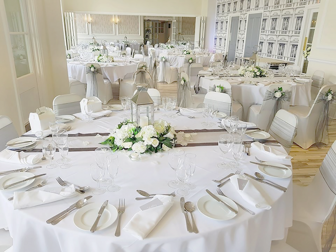 A photo of the furniture in the function room for a wedding breakfast